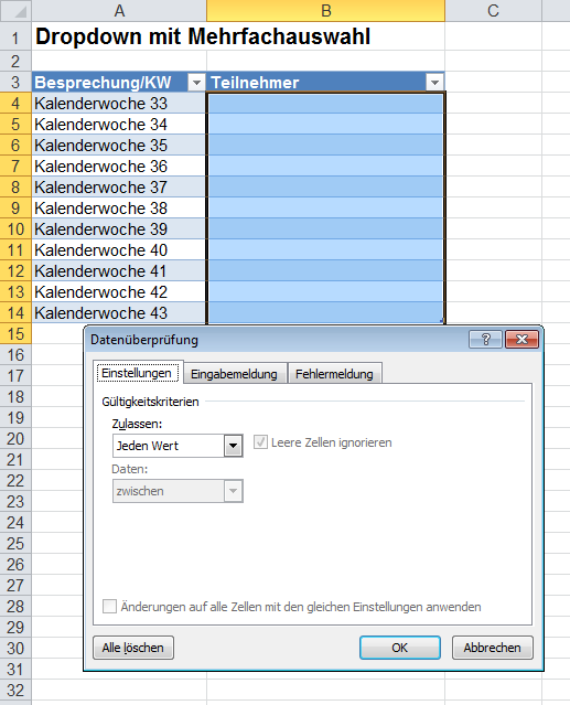 Excel-Inside Solutions - DropDown Liste mit Mehrfachauswahl