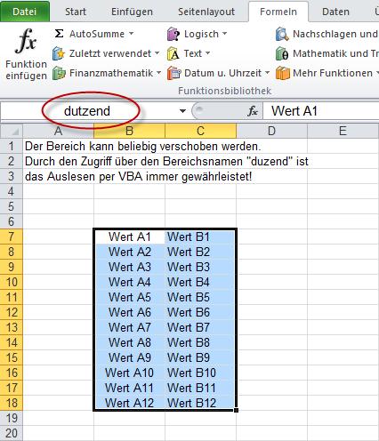Excel-Inside Solutions - Zugriff auf Daten über VBA und Bereichsnamen