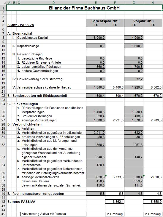 Excel Vorlage Plan Bilanz Hanseatic Business School 3