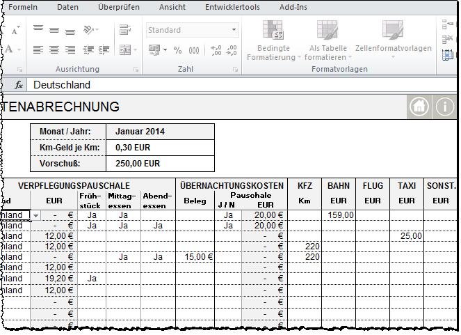 Excel Inside Solutions Reisekosten Abrechnung