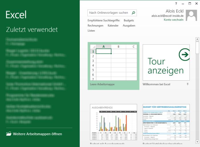 Excel-Inside Solutions - Excel 2013: Direkt mit leerer Tabelle starten