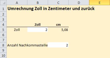 Umwandeln Von Zoll In Zentimeter Excel Inside Solutions