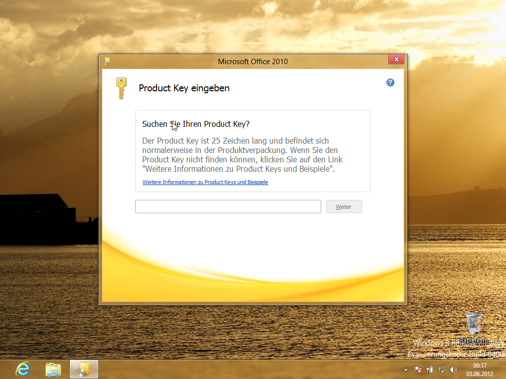 Installation von Office 2010 unter Windows 8