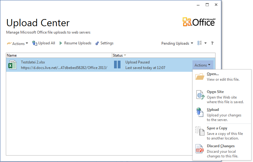 Office 2013 Upload Center