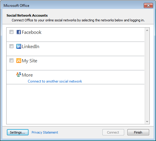 Outlook 2013 - Social Network