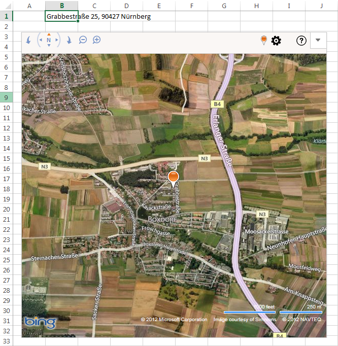 Bing Maps in Satelitenansicht