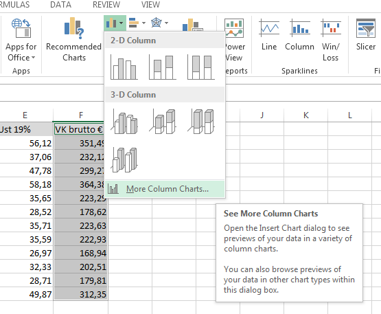 Neue Diagramm-Funktionen in Excel 2013