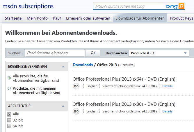 Office 2013 Final Download im MSDN Subscription