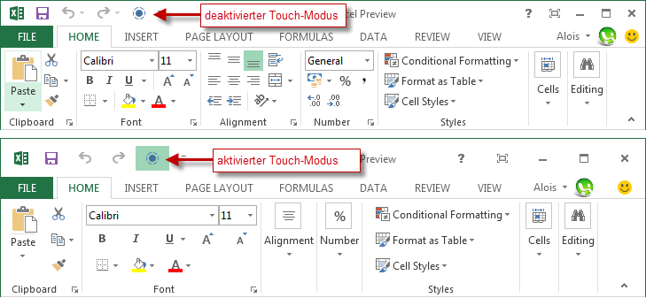 Office 2013 Touch-Modus