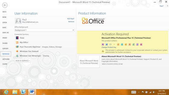 Bilder zur Office 15 Technical Preview